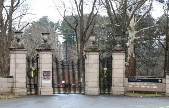 The locked gates at the entrance to the Vanderbilt Mansion Historic Site which is closed due to the government shutdown on December 24, 2018.