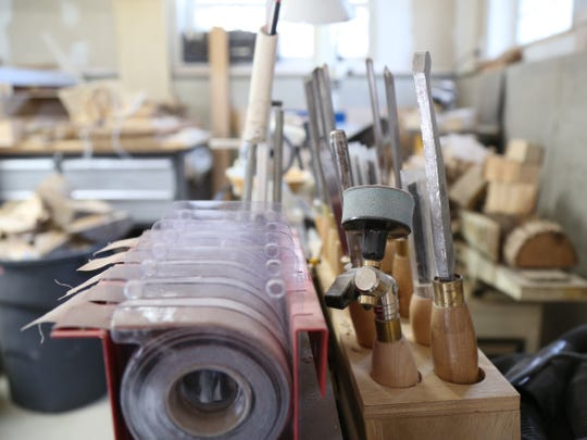 Woodturning tools on Edward Bryan's lathe in his workshop in Pawling on December 20, 2018.