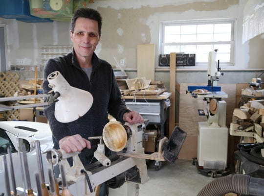 Edward Bryan at his lathe in his workshop in Pawling on December 20, 2018.