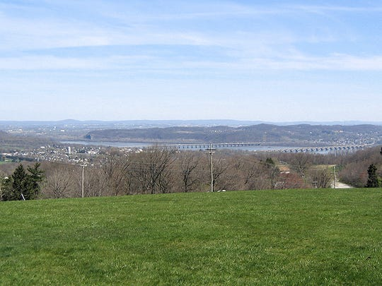 View from Sam Lewis Park looking north-northeast over Wrightsville.  Chickies Rock stands out on the east side of the river.