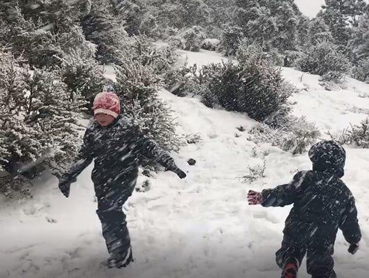 Children In Snow Near Reno