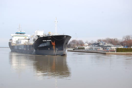The new cement carrier, the McKeil Spirit, passing the Rochester Yacht Club on Dec. 5, 2018.