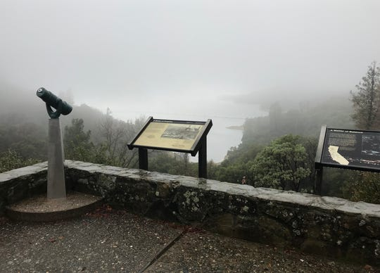 A foggy Whiskeytown National Recreation Area was nearly deserted Monday due in part  to the federal government shutdown.