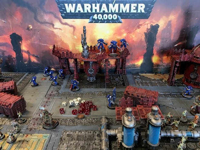 A training set full of miniatures at the new Warhammer store at 2701 W. 41st St. in Sioux Falls.