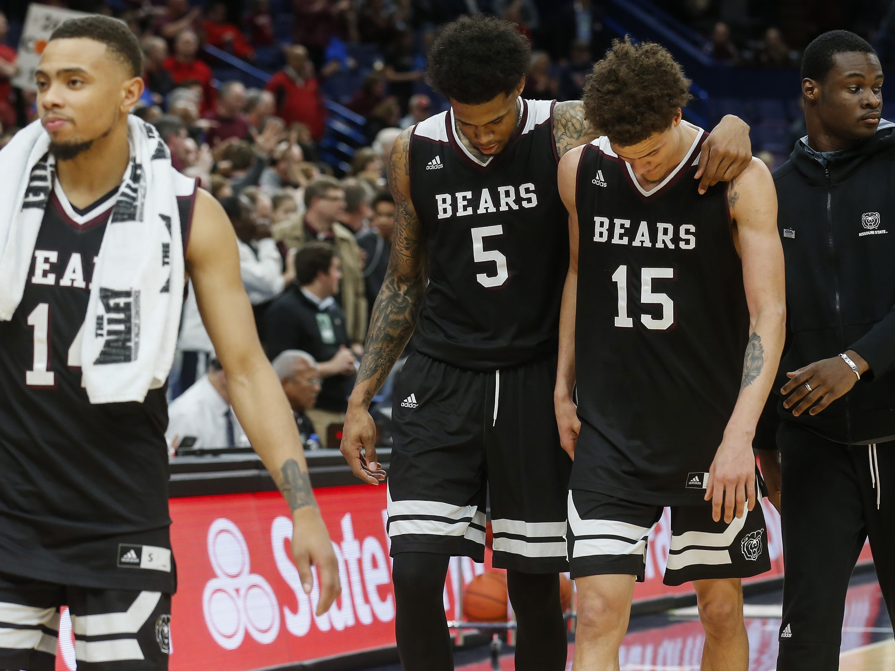 March 2: Missouri State basketball's season ends after a loss in the quarterfinal game against Southern Illinois 67-63 in the MVC Tournament at the Scottrade Center on Friday, March 2, 2018 in St. Louis.