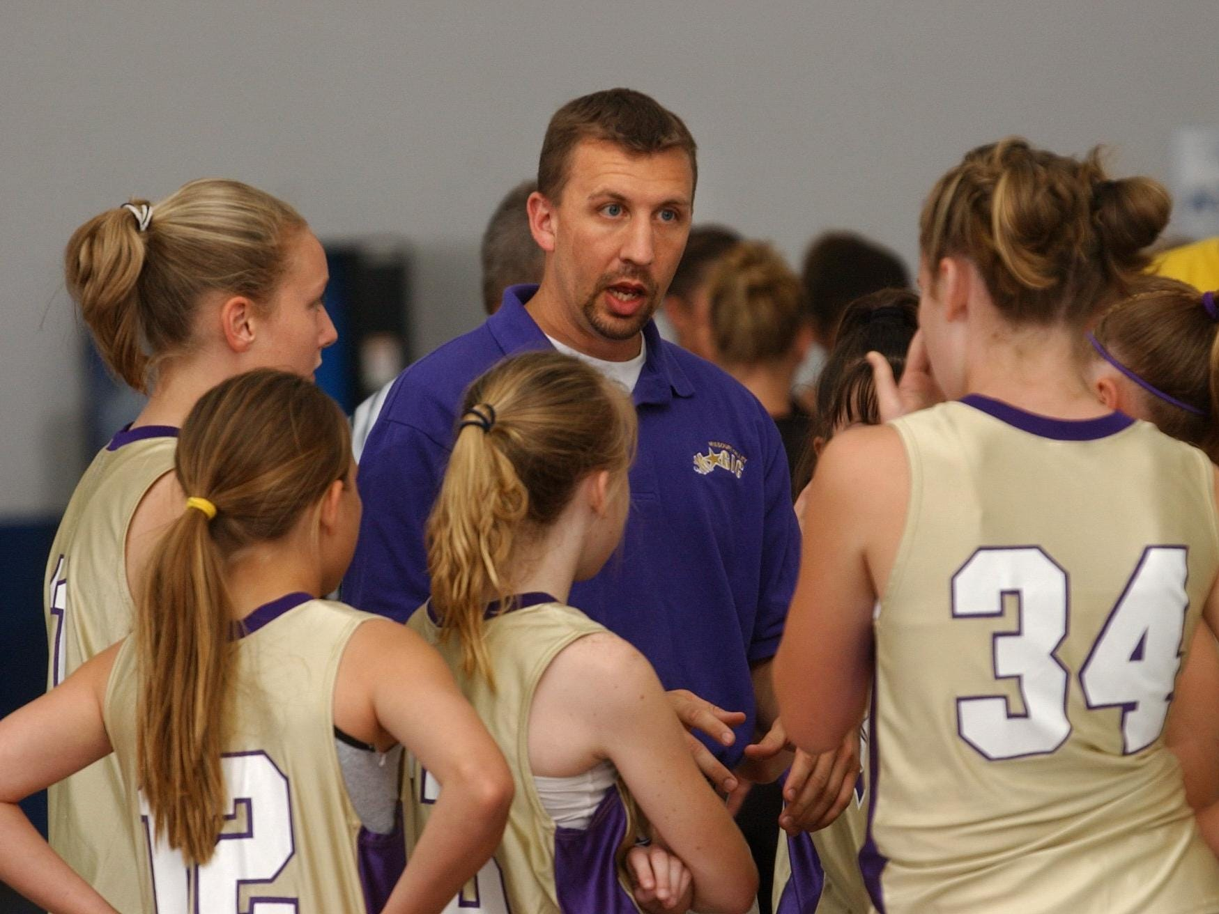 Magic coach Doug Heppler talks to his team before playing their game at The Courts in 2003.