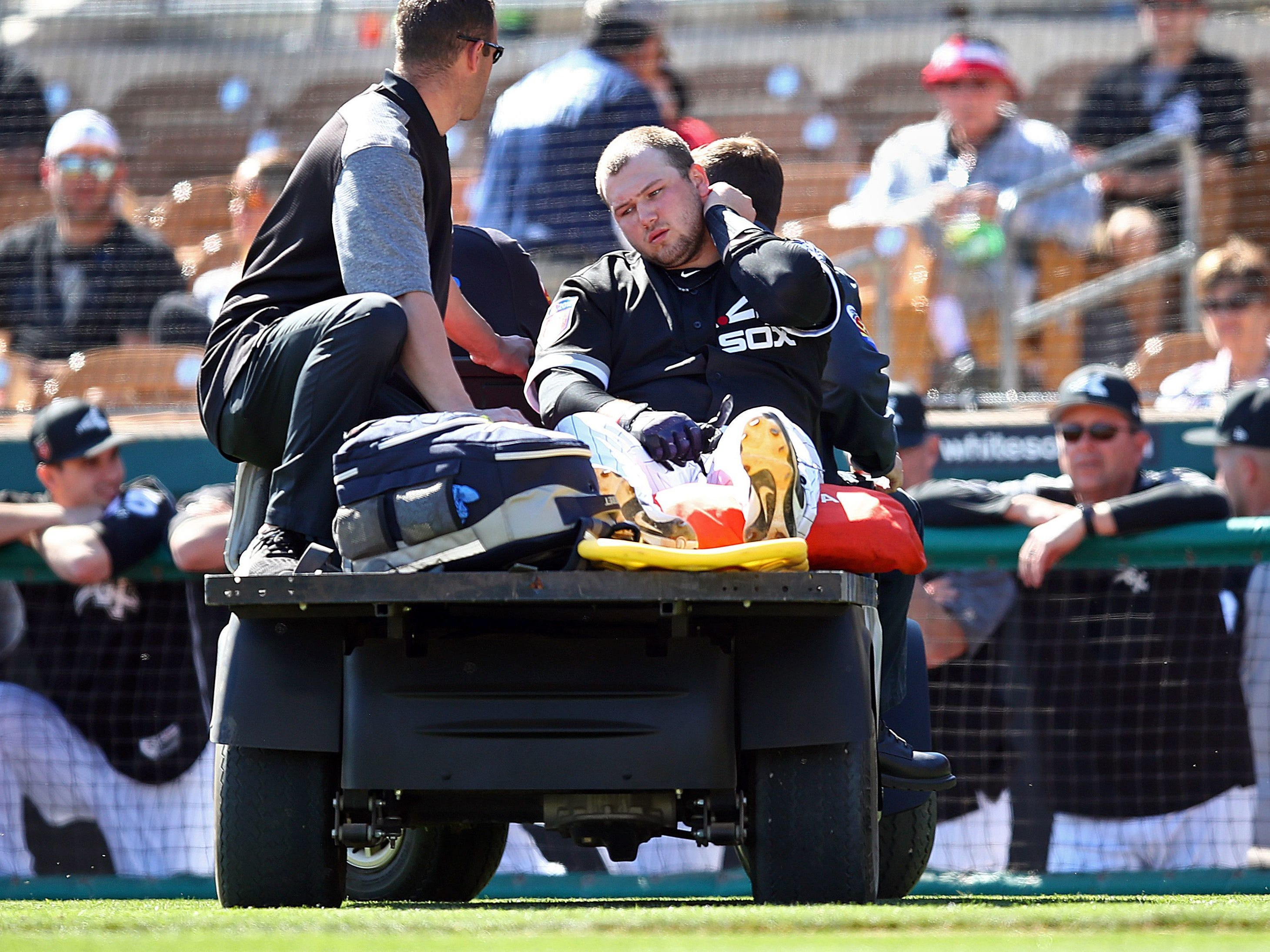 Feb. 27: Chicago White Sox third baseman and MSU alum Jake Burger ruptures his Achilles during a spring training baseball game against the Oakland Athletics on Monday in Glendale, Ariz.