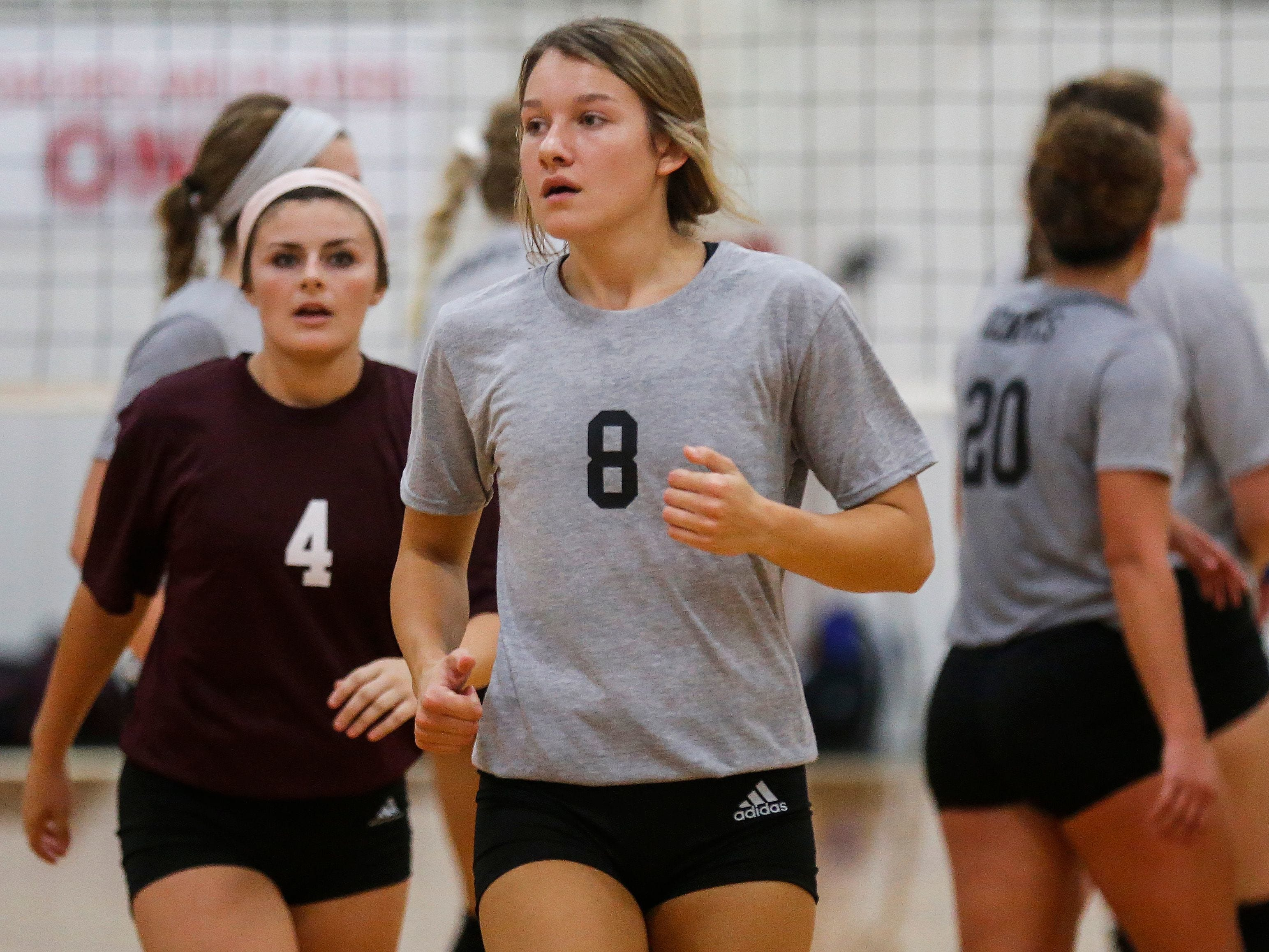 Rielly Dobbs (8), of the College of the Ozarks Bobcats, and her teammates wore grey t-shirts and Adidas shorts during their game against the Williams Baptist Eagles during the 2018 Evangel Classic at The Courts in Springfield, MO., on Saturday, Sep. 8, 2018.