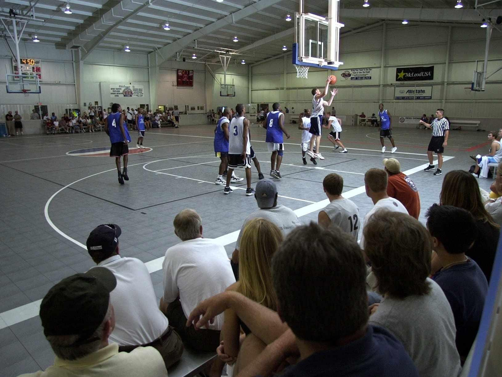 Fans watch mens teams play at The Courts in 2002.