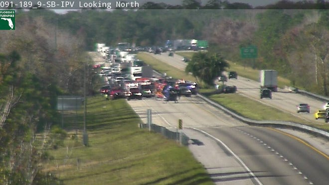A crash on the Turnpike south of State Road 60 has all lanes blocked.