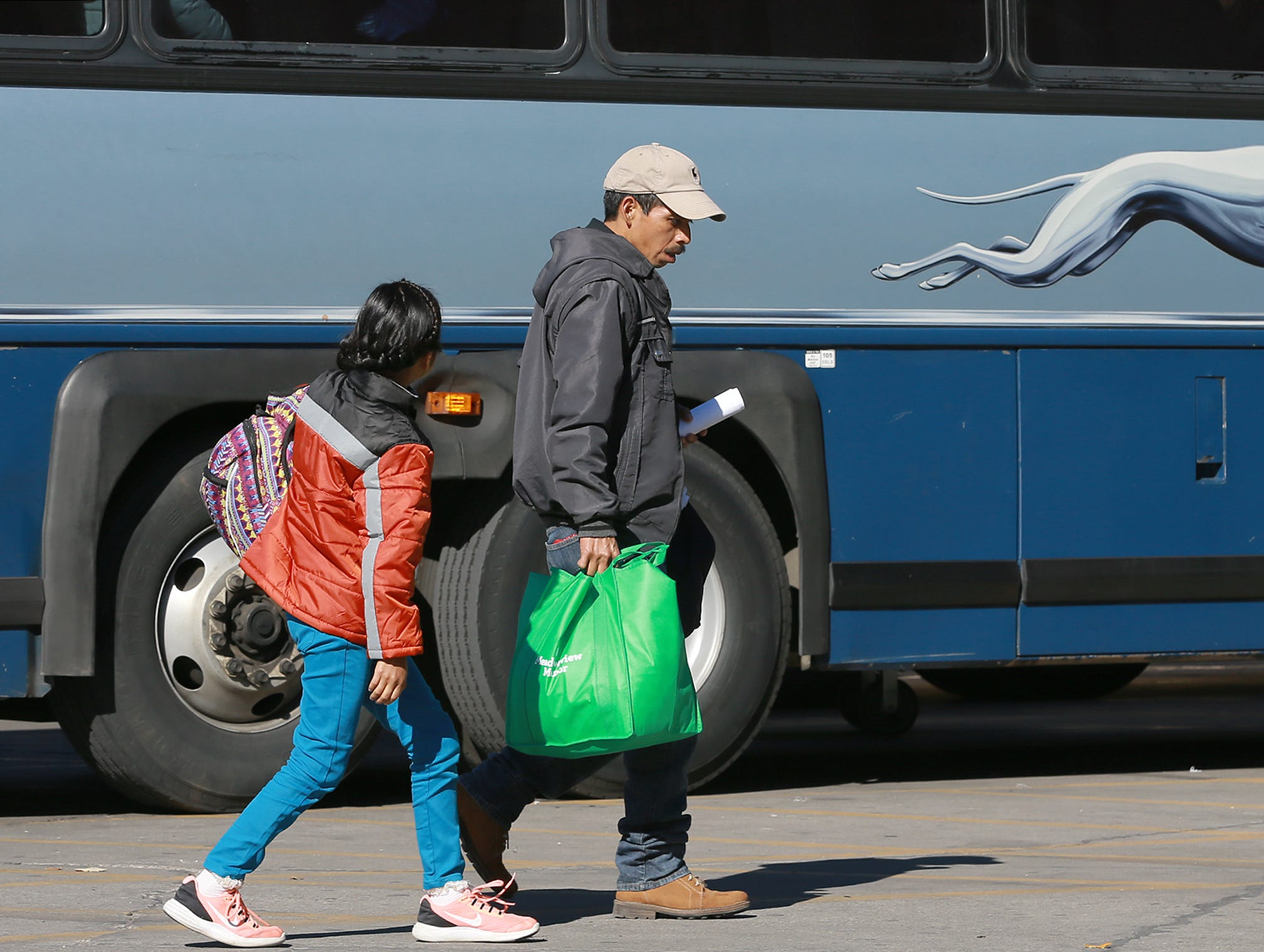 Hundreds of asylum seekers were dropped off Sunday night at the Greyhound station in downtown El Paso before accommodations were made by Annunciation House. Many of the migrants were taken Monday morning back to the Greyhound station to arrange for travel.