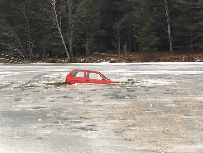 A car broke through the ice Saturday on Lake Alexander in Lincoln County.