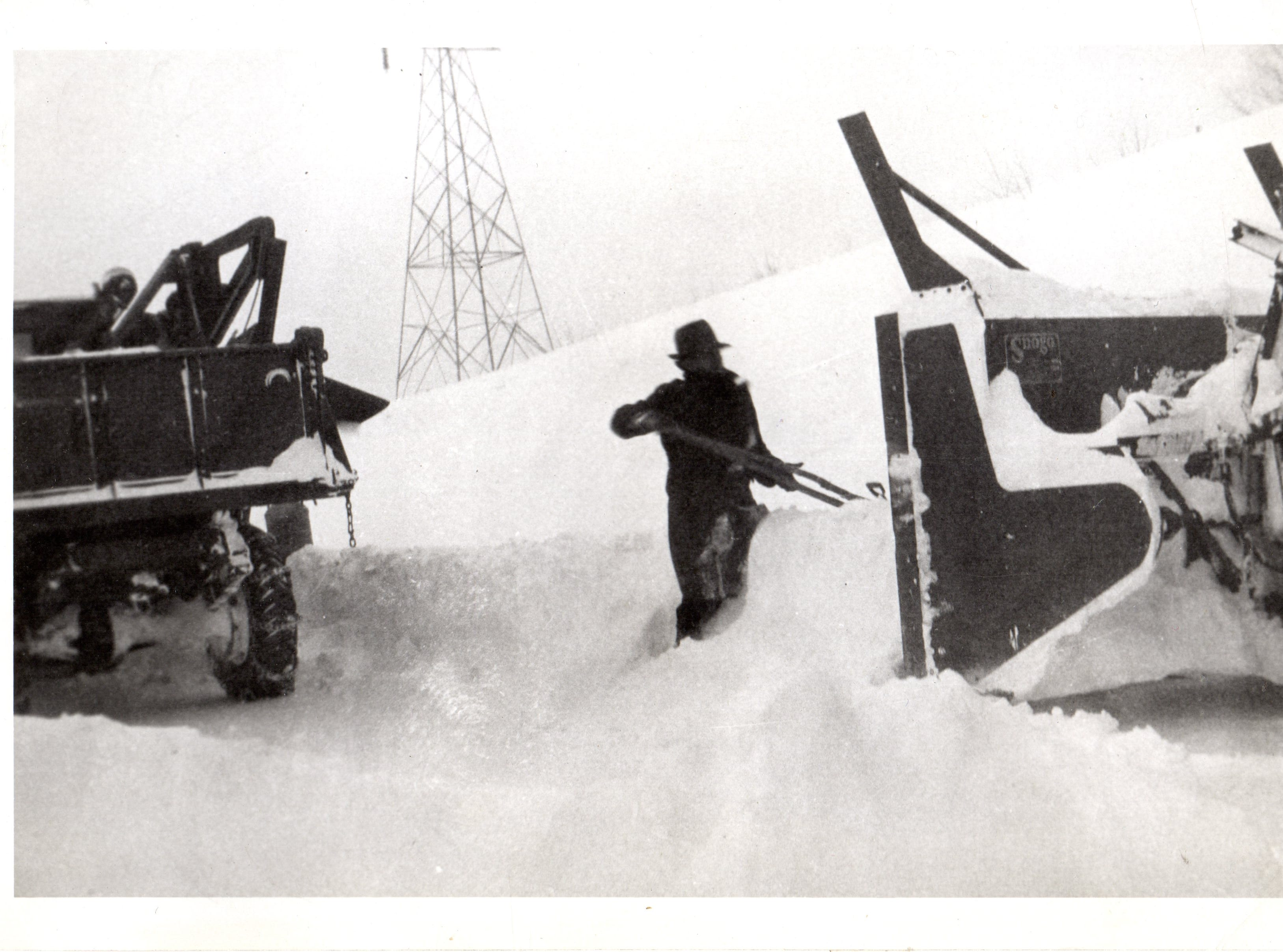 A big part of the collective identity of residents of the Hurley area revolves around the amount of snow it receives. This photo shows a man working to dig out after a massive 1938 snowstorm.