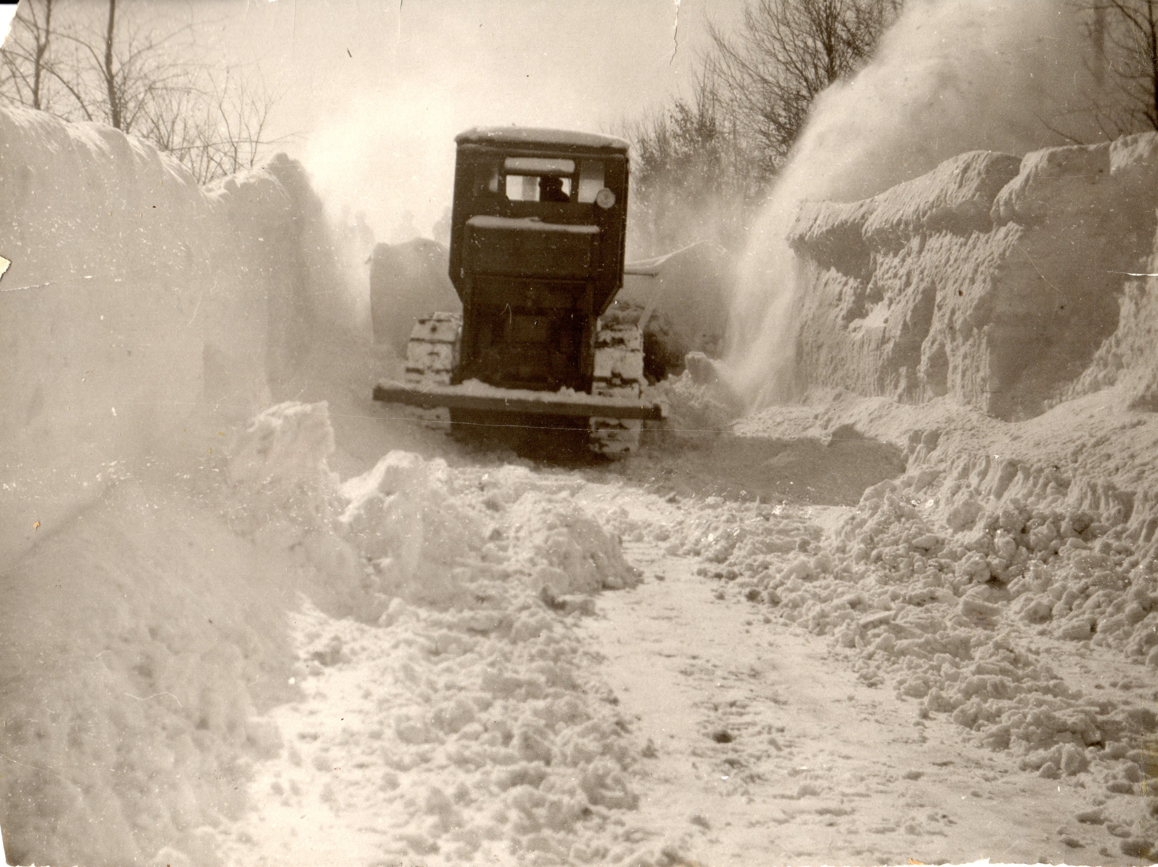 Through the years, the road crews of Iron County and Hurley have become experts at snow removal. This photo is from the 1938 snow storm.