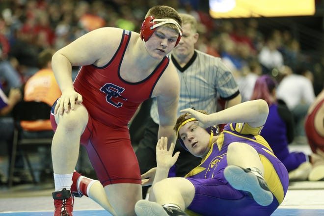 Spencer/Columbus Catholic Logan Zschernitz, left, remains ranked first in Division 2 in the 285-pound weight class in the third version of the Wisconsin Wrestling Online state poll which was released last week.