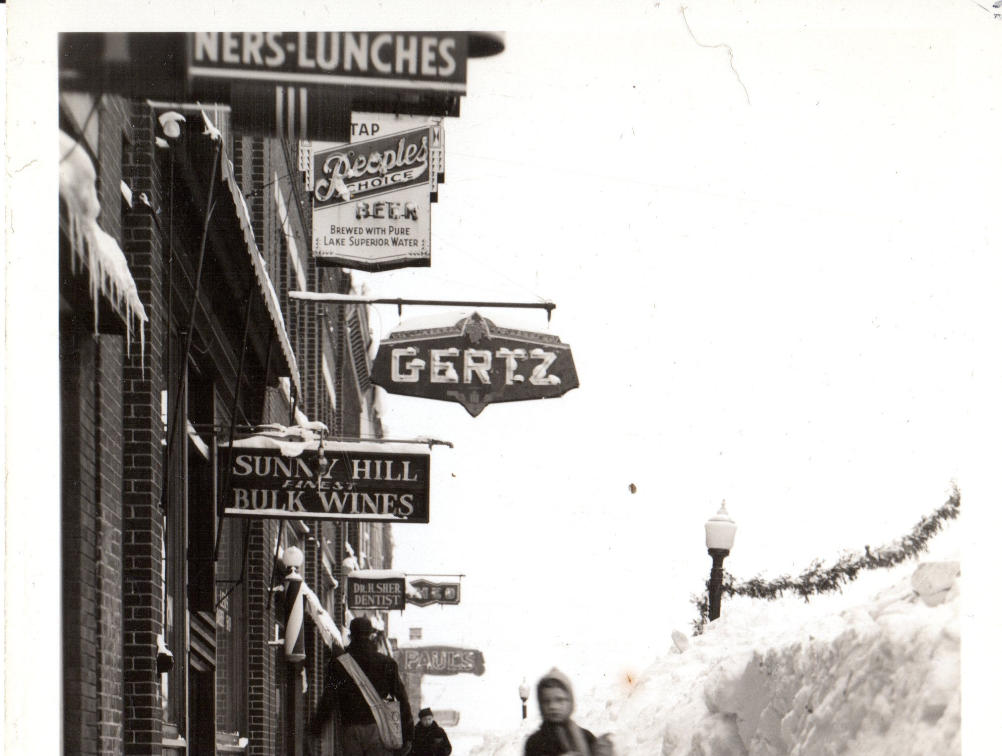 Sisu in downtown Hurley, in an undated historical photo.