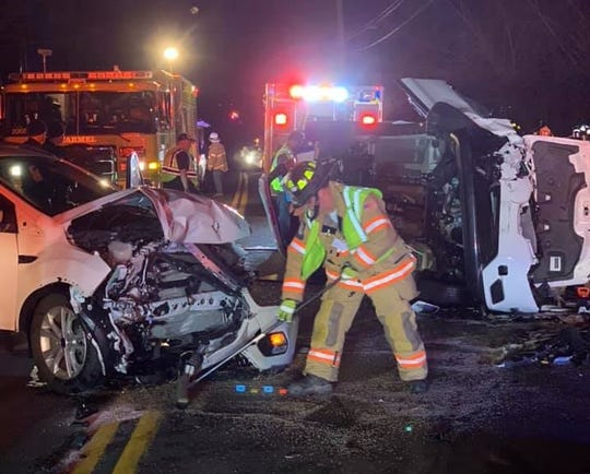 Three people were injured in a head-on crash on Drewville Road in Carmel on Dec. 23, 2018.