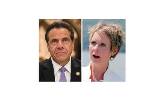 Gov. Andrew Cuomo and Cynthia Nixon, who challenged him unsuccessfully in a Democratic primary in September 2018.