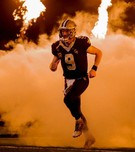 New Orleans Saints quarterback Drew Brees during introductions prior to kickoff against the Pittsburgh Steelers at the Mercedes-Benz Superdome.