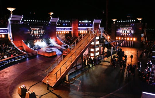 """Here's a look at a """"Titan Games"""" course. Producer Arthur Smith says, """"We couldn't find a space big enough, but we built in arena."""""""