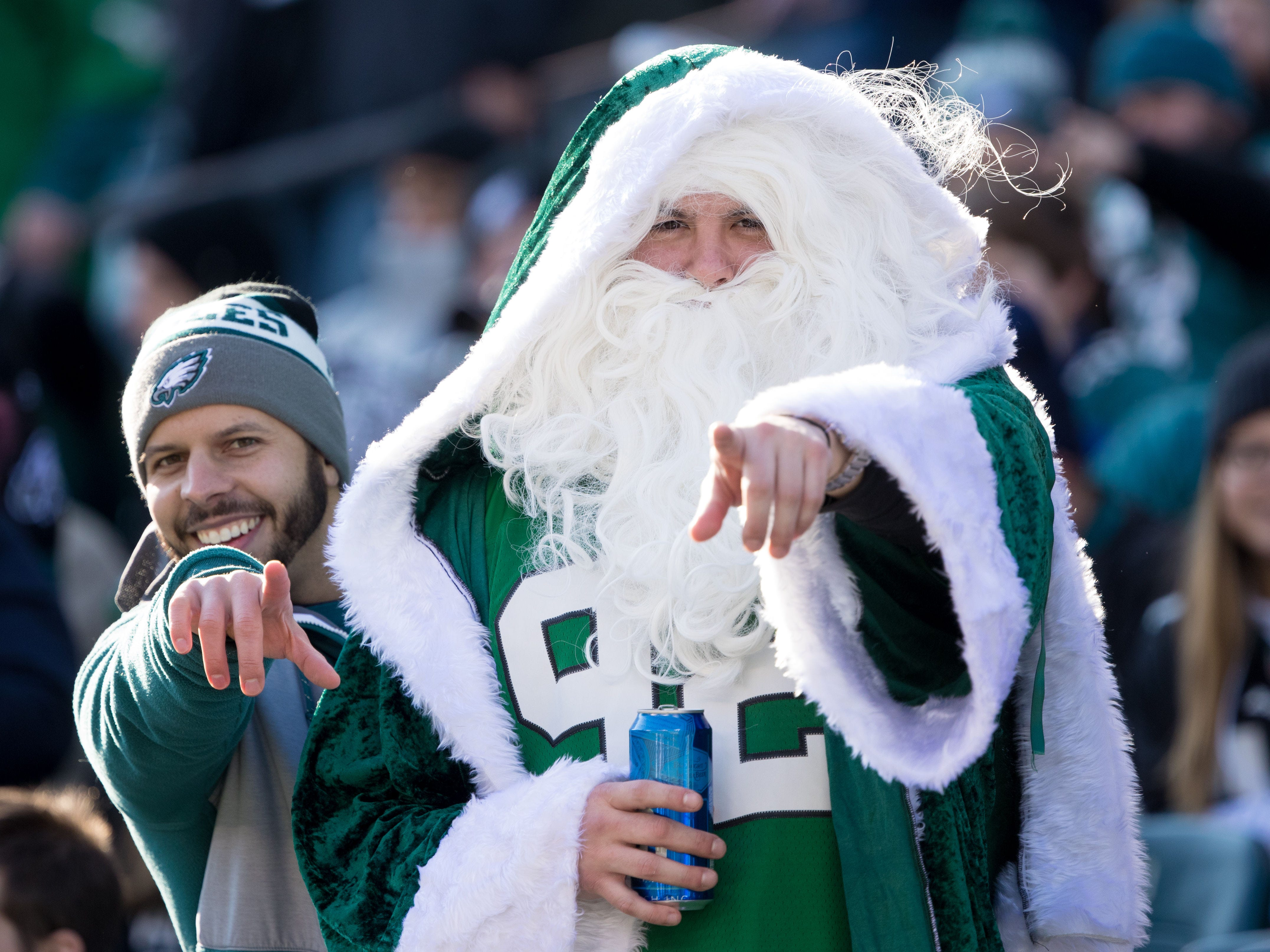 Philadelphia Eagles fans cheer on before the start of action against the Houston Texans at Lincoln Financial Field.