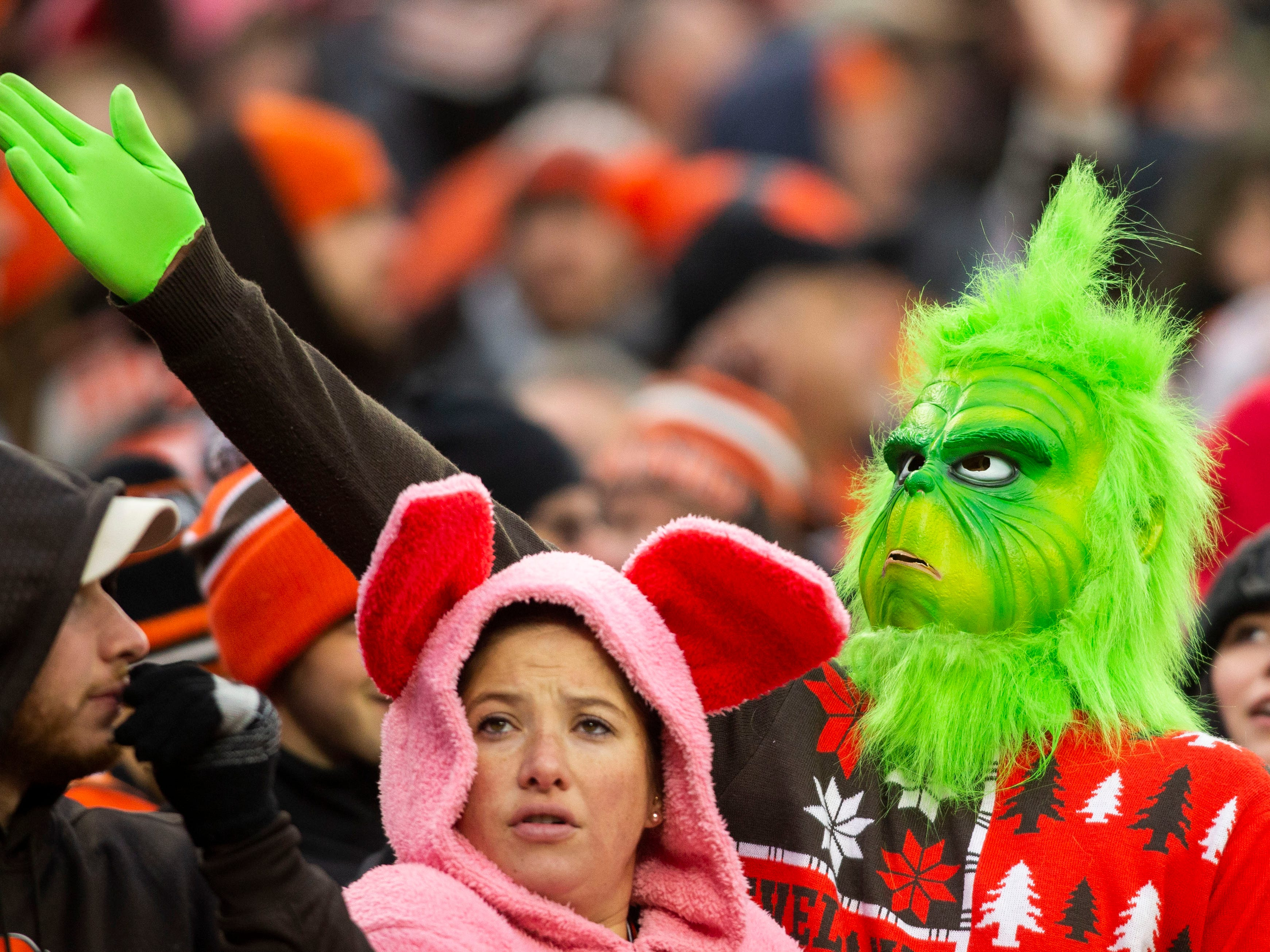 A fan dressed as the Grinch signals for a Cleveland Browns first down during the fourth quarter against the Cincinnati Bengals at FirstEnergy Stadium.