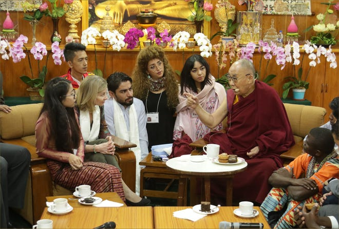 The Dalai Lama meets with young people in Dharamsala, India, in October 2018.