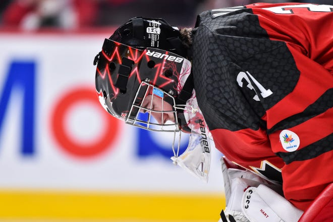 Flyers goalie Carter Hart helped Canada win gold at the World Junior Championship last season. Seven Flyers prospects will try to do the same starting Wednesday.