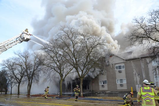 A fire broke out at the 123-unit Sterling Troy Apartments, 34400 Dequindre Rd. in Sterling Heights, around 9:15 am on Tuesday, Dec. 25, 2018.