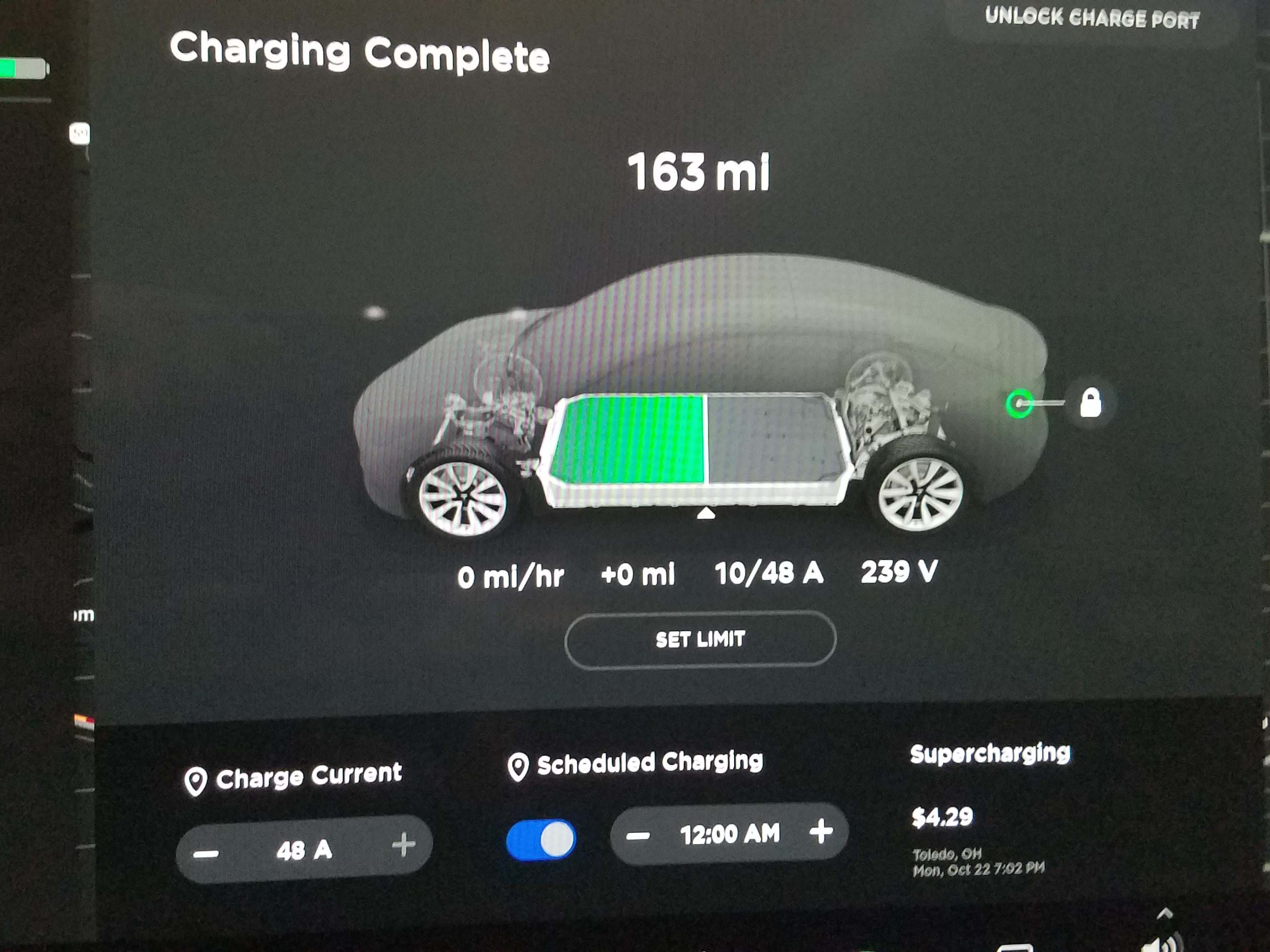 Charging for the Tesla Model 3 can be set automatically. It can also be controlled remotely via a phone app.