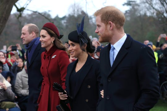 Prince William, Duke of Cambridge, Catherine, Duchess of Cambridge, Meghan, Duchess of Sussex and Prince Harry, Duke of Sussex leave after attending Christmas Day Church service.