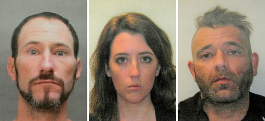 This November 2018 file combination of photos provided by the Burlington County Prosecutors office shows Johnny Bobbitt, left, Katelyn McClure and Mark D'Amico.