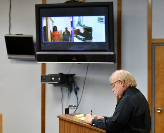 Attorney Marshall Goldberg appears for a video arraignment at 34th District Court in Romulus, Mich. on Dec. 25, 2018. 34th District court handles the arraignments for Wayne County and Detroit that must take place on Christmas.
