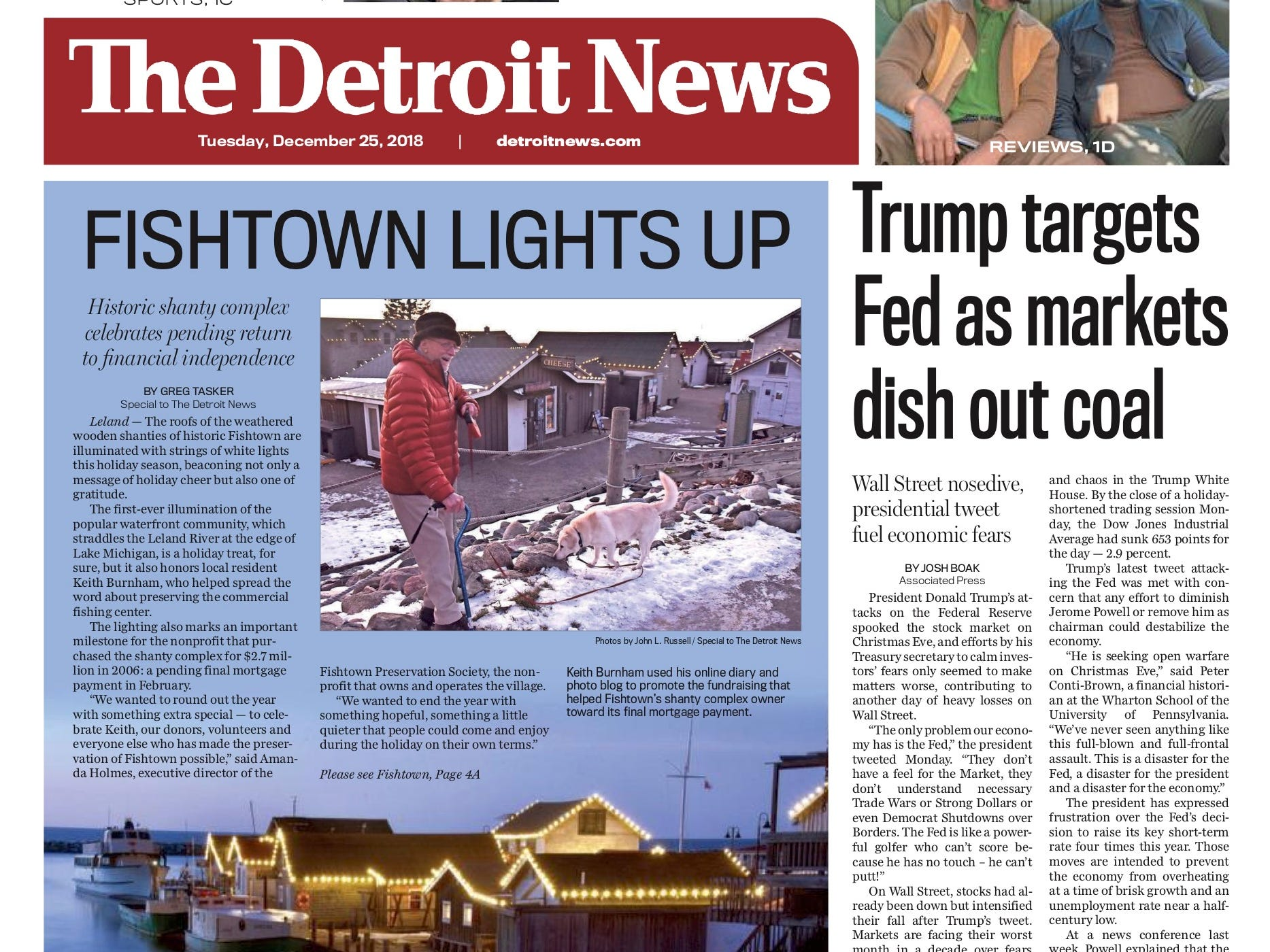 The front page of the Detroit News on December 25, 2018