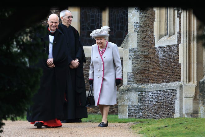 Queen Elizabeth II leaves after attending Christmas Day Church service.