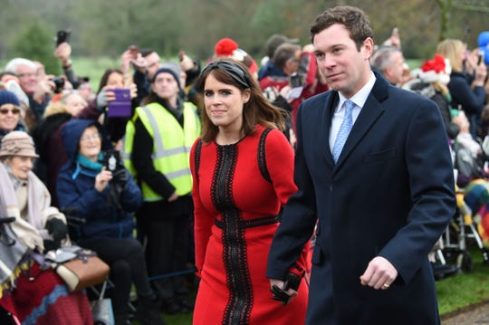 Britain's Princess Eugenie of York and her husband Jack Brooksbank arrive for the Royal Family's traditional Christmas Day service.