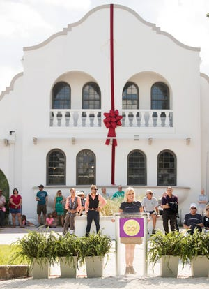 Sarah Owen, president & CEO of the Southwest Florida Community Foundation, welcomes the community to the foundation's new home, the Collaboratory in downtown Fort Myers on Oct. 21, 2018.