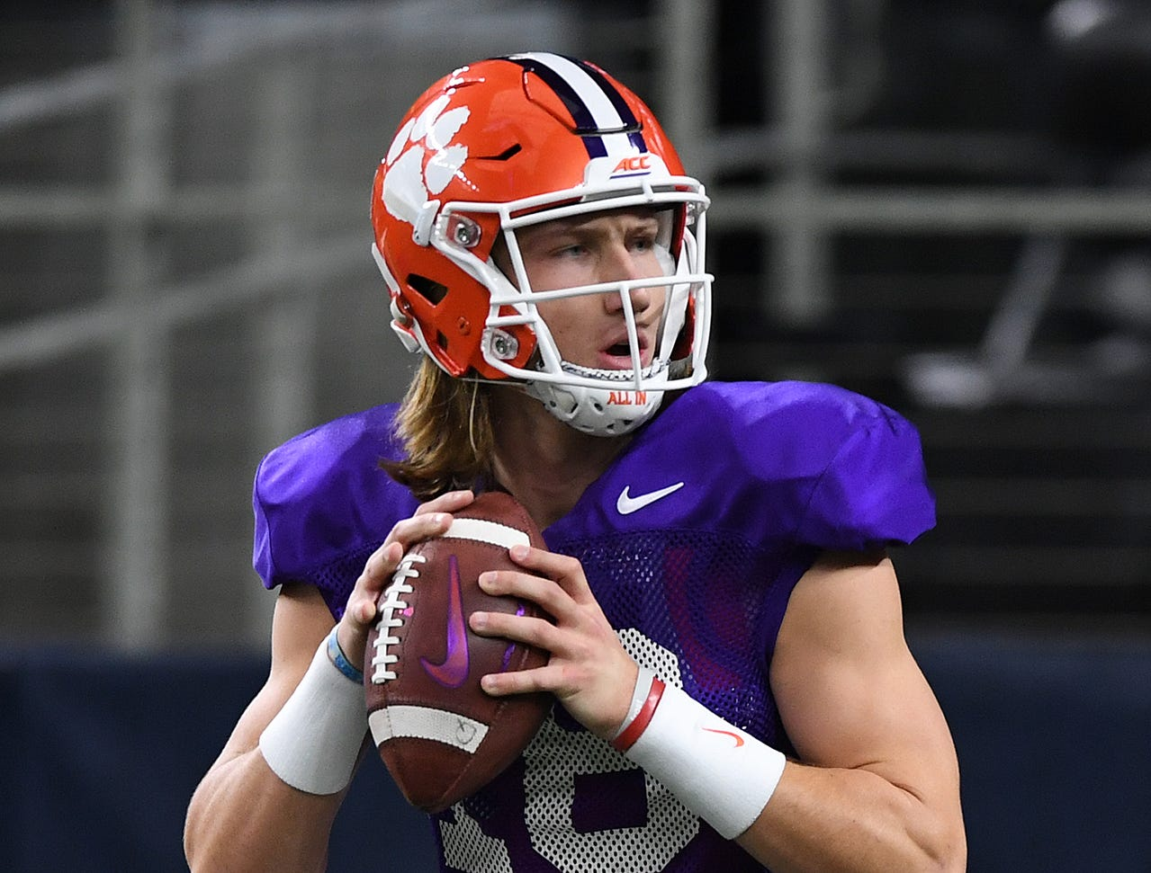 Clemson quarterback Trevor Lawrence (16) during the teams Cotton Bowl practice at AT&T Stadium in Arlington, TX Tuesday, December 25, 2018.