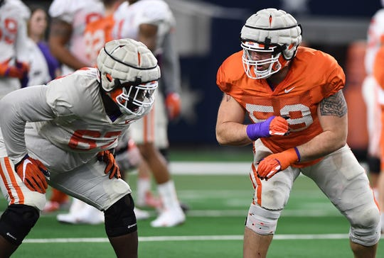Clemson offensive lineman Gage Cervenka (59), right, during the teams Cotton Bowl practice at AT&T Stadium in Arlington, TX Tuesday, December 25, 2018.