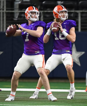 Seen here with Clemson quarterback Trevor Lawrence (16) at the Cotton Bowl in 2018, Chase Brice has been named Duke's starting quarterback ahead of Saturday's opener at 10th-ranked Notre Dame.