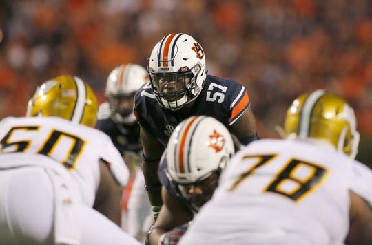 Auburn linebacker Deshaun Davis (57) lines up against Alabama State at Jordan-Hare Stadium on Sept. 8, 2018.