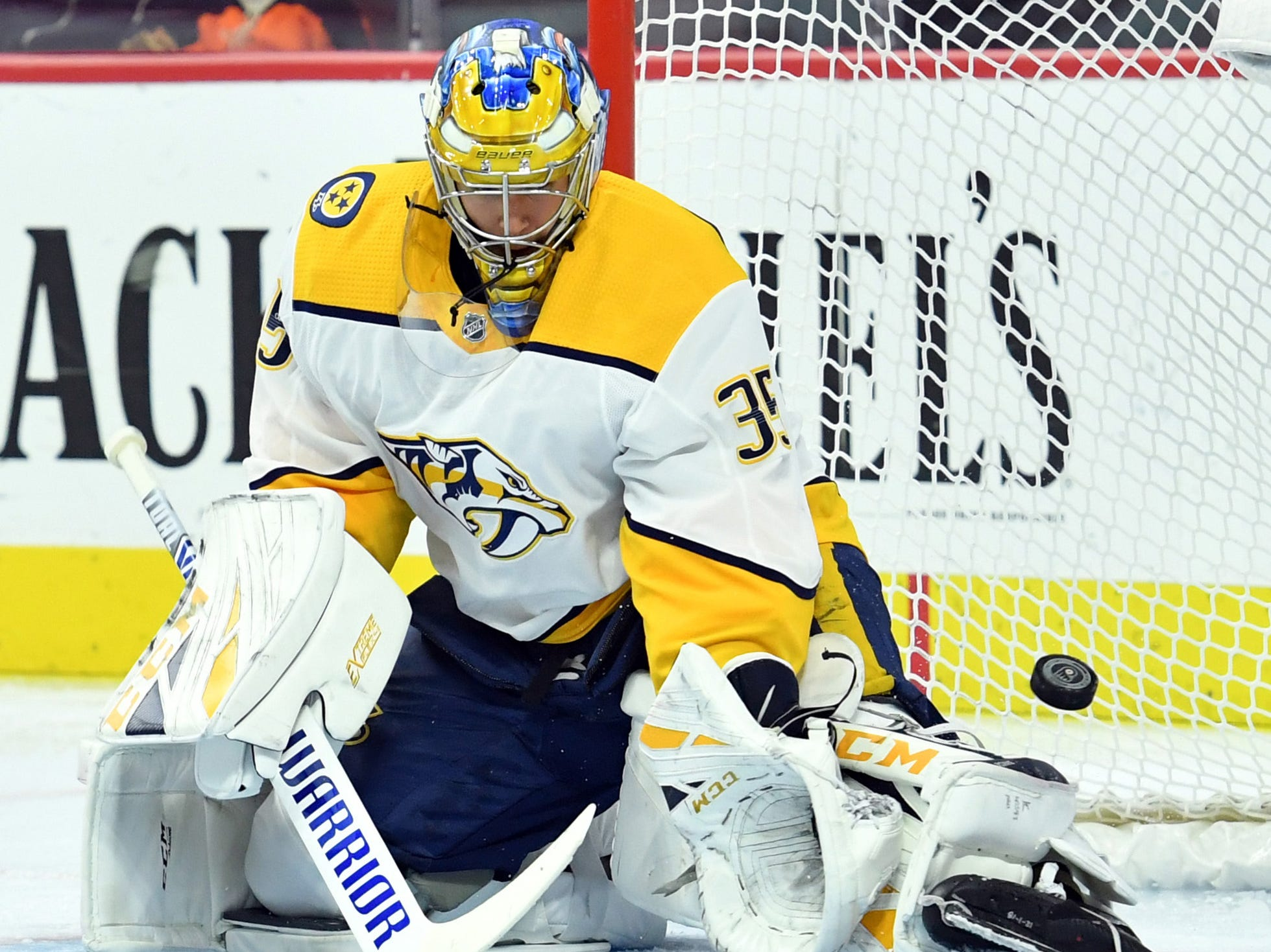 Nashville Predators goaltender Pekka Rinne (35) makes a save during the second period against the Philadelphia Flyers at Wells Fargo Center.