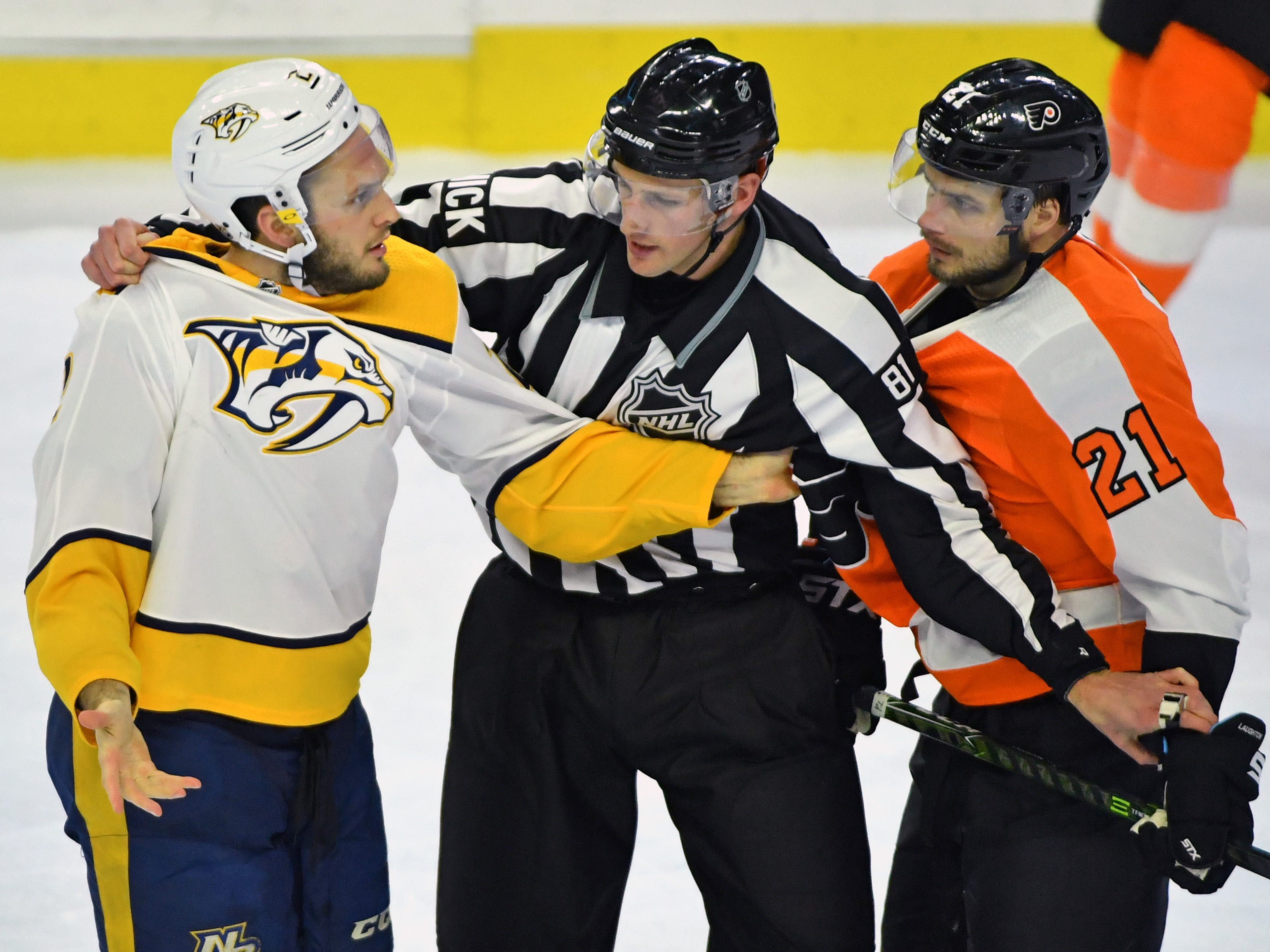 Dec 20: Flyers 2, Predators 1 -- Nashville Predators defenseman Anthony Bitetto (2) is called for unsportsmanlike conduct against Philadelphia Flyers center Scott Laughton (21) during the third period at Wells Fargo Center.