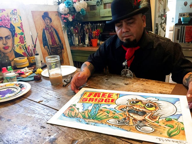 "In this Thursday, April 5, 2018 photo artist Moises Salcedo of Albuquerque shows an early rendition of the lead character for the bilingual children's book ""Owl in a Straw Hat"" at his home and studio in Albuquerque."
