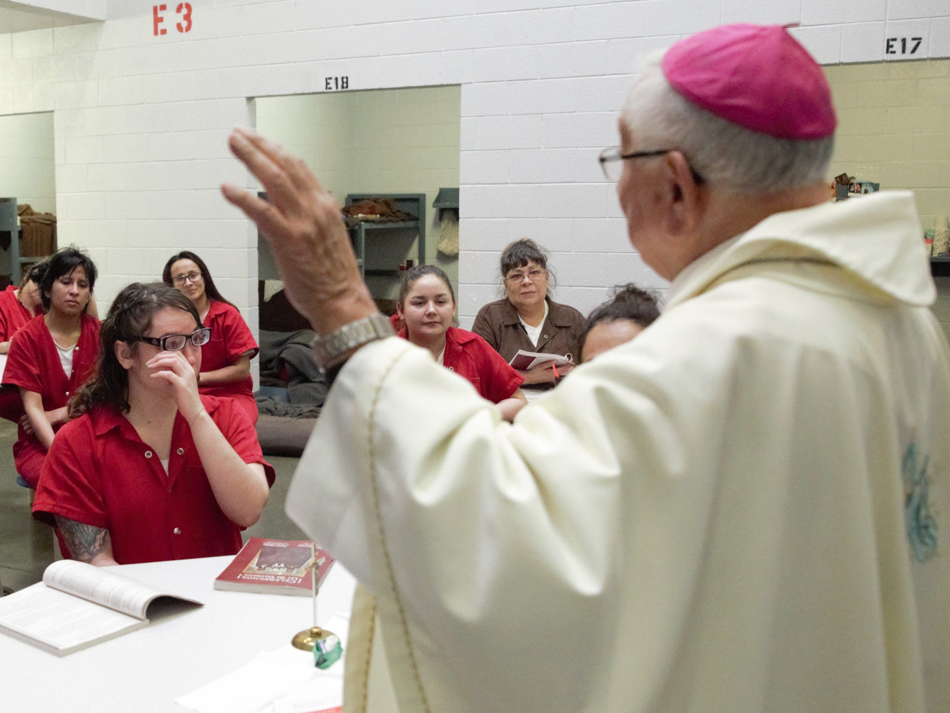Bishop Emeritus Ricardo Ramírez of the Catholic Diocese of Las Cruces hosts an emotional Christmas Day Mass for a group of women in the Doña Ana County Detention Center on Tuesday, Dec. 25, 2018.