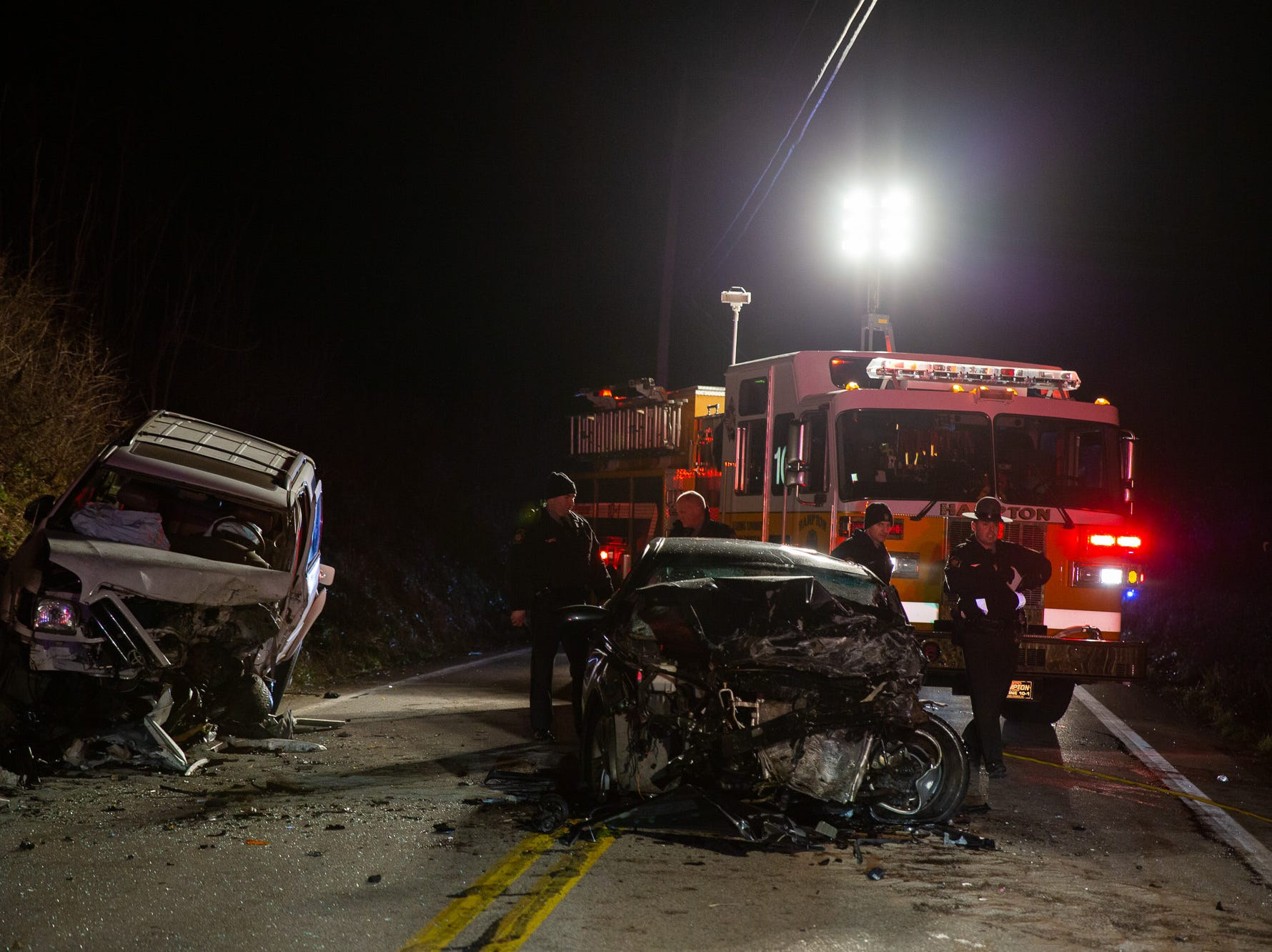 The Pennsylvania State Police investigate the scene of a crash on the 2200 block of East Berlin Road, Monday, Dec. 24, 2018, in Reading Township.