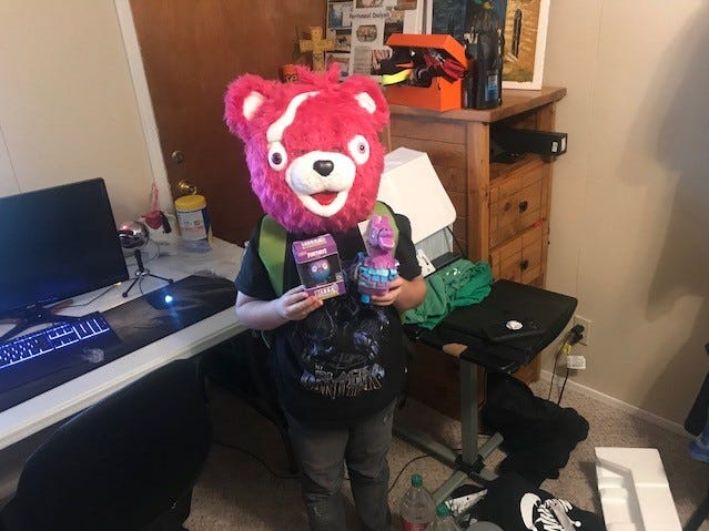 Canyon Martin is decked out in Fortnite gear Dec. 25, 2018.