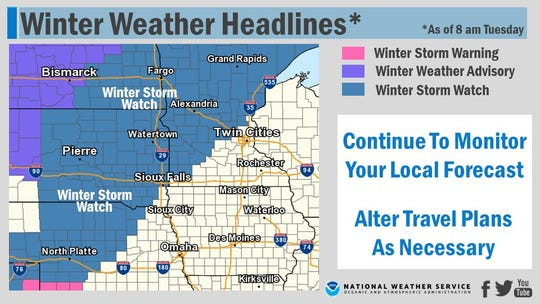 The National Weather Service has issued a winter storm watch in anticipation of as much as 18 inches of snow falling on parts of South Dakota through Friday.