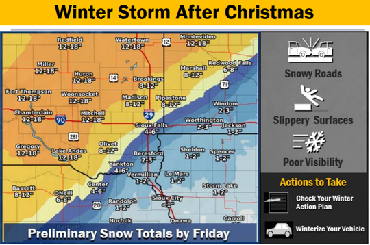 According to the NWS website, moderate to heavy snow, rain and wind arepossible in South Dakota and Minnesota between Wednesday morning into Friday.
