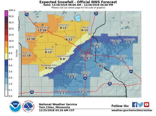 Expected Snowfall Nws Pulled 11 Am 12 25 18